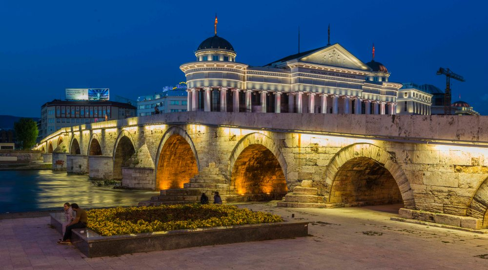 Skopje, Macedonia, Europe, Square, Fountain, River, History, Building, Architecture, Fortress, Stone Bridge