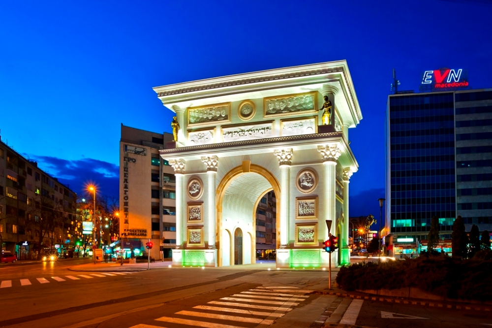 Skopje, Macedonia, square, arc